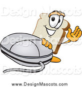 Illustration of a Slice of Bread Mascot Waving and Standing by a Computer Mouse by Toons4Biz