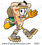 Illustration of a Slice of Pizza Mascot Hiking by Toons4Biz