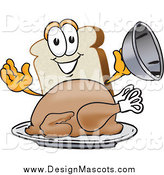 Illustration of a Slice of White Bread Mascot Serving a Cooked Turkey on a Platter by Toons4Biz