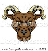 Illustration of a Snarling Ram Mascot by AtStockIllustration