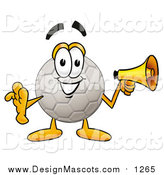 Illustration of a Soccer Ball Mascot Holding a Megaphone by Toons4Biz