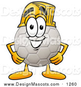 Illustration of a Soccer Ball Mascot Wearing a Helmet by Toons4Biz
