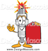 Illustration of a Spark Plug Mascot Holding a Price Tag by Toons4Biz