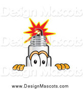 Illustration of a Spark Plug Mascot Looking over a Surface by Toons4Biz