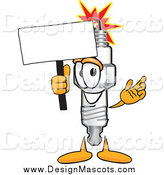 Illustration of a Spark Plug Mascot with a Blank White Sign by Toons4Biz