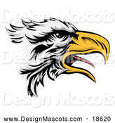 Illustration of a Squaking Bald Eagle Mascot in Profile by AtStockIllustration