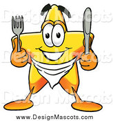 Illustration of a Star Mascot Holding a Knife and Fork by Toons4Biz