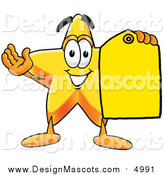 Illustration of a Star Mascot Holding a Yellow Sales Tag by Toons4Biz