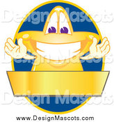 Illustration of a Star Mascot over a Blue Oval and Blank Gold Banner by Toons4Biz