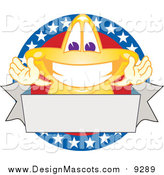 Illustration of a Star Mascot over an American Circle and Blank Banner by Toons4Biz