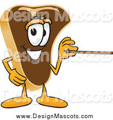 Illustration of a Steak Mascot Cartoon Character Using a Pointer Stick by Toons4Biz