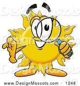 Illustration of a Sun Mascot Looking Through a Magnifying Glass by Toons4Biz