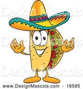 Illustration of a Taco Mascot Cartoon with Welcoming Open Arms by Toons4Biz