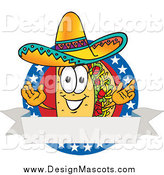 Illustration of a Taco Mascot on a Round American Themed Design by Toons4Biz