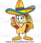 Illustration of a Taco Mascot Talking on a Phone by Toons4Biz