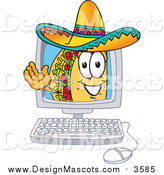 Illustration of a Taco Mascot Waving from Inside a Computer Screen by Toons4Biz