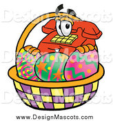 Illustration of a Telephone Mascot in an Easter Basket by Toons4Biz