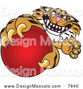 Illustration of a Tiger School Mascot Grabbing a Red Ball by Toons4Biz