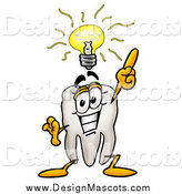 Illustration of a Tooth Mascot Holding up a Finger Under an Idea Bulb by Toons4Biz