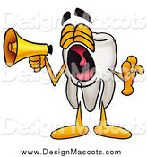 Illustration of a Tooth Mascot Screaming and Announcing with a Megaphone by Toons4Biz