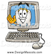 Illustration of a Tooth Mascot Waving on a Computer Screen by Toons4Biz