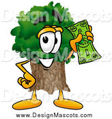 Illustration of a Tree Mascot Holding a Dollar Bill by Toons4Biz