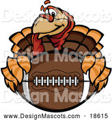 Illustration of a Turkey Bird Mascot Holding an American Football by Chromaco