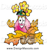 Illustration of a Vase of Flowers Mascot over Autumn Leaves by Toons4Biz