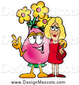 Illustration of a Vase of Flowers Mascot Talking to a Blond Woman by Toons4Biz