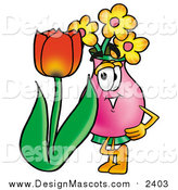 Illustration of a Vase of Flowers Mascot with a Spring Tulip by Toons4Biz
