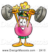 Illustration of a Vase of Flowers Mascot Working out with a Barbell by Toons4Biz