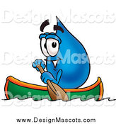 Illustration of a Water Drop Mascot Rowing a Boat by Toons4Biz