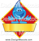 Illustration of a Water Droplet Mascot Welcoming on a Red Yellow and Gold Diamond with a Blank Banner by Toons4Biz