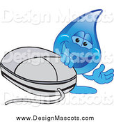 Illustration of a Water Droplet Mascot with a Comptuer Mouse by Toons4Biz