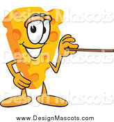 Illustration of a Wedge of Cheese Mascot Using a Pointer Stick and Pointing to the Right by Toons4Biz