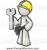 March 7th, 2014: Illustration of a White Construction Worker Man Holding a Wrench by Leo Blanchette