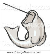 Illustration of a White Fish Jumping on a Hook by Leo Blanchette