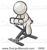 Illustration of a White Man on a Stationary Bicycle by Leo Blanchette