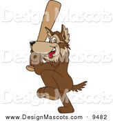 Illustration of a Wolf Mascot Playing Baseball by Toons4Biz