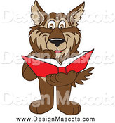 Illustration of a Wolf Mascot Reading a Book by Toons4Biz