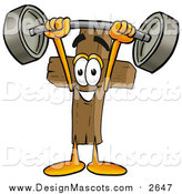 Illustration of a Wood Cross Mascot Cartoon Character Holding a Heavy Barbell Above His Head by Toons4Biz