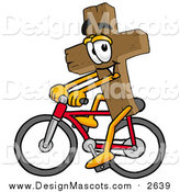 Illustration of a Wood Cross Mascot Riding a Bicycle by Toons4Biz