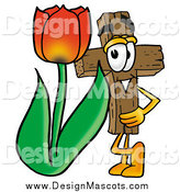 Illustration of a Wooden Christian Cross Mascot with a Red Tulip Flower in the Spring by Toons4Biz