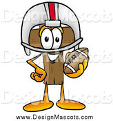Illustration of a Wooden Christian Cross Mascot with Football Gear by Toons4Biz