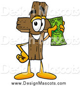 Illustration of a Wooden Cross Mascot Holding Cash by Toons4Biz
