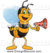 Illustration of a Worker Bee Mascot Announcing with a Megaphone by Toons4Biz