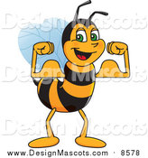 Illustration of a Worker Bee Mascot Flexing by Toons4Biz