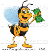 Illustration of a Worker Bee Mascot Holding Cash by Toons4Biz