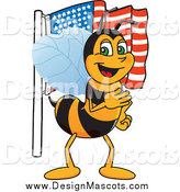 Illustration of a Worker Bee Mascot with an American Flag by Toons4Biz