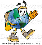 Illustration of a World Earth Globe Mascot Hiking and Waving by Toons4Biz